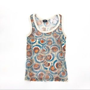 Dolce & Gabbana micro mesh floral psych tank top s